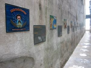 "View of the alley showing the mounted metallic plates of the book ""Little Turtle Messenfger."" Photo credit : Dr Masaya Katoh"